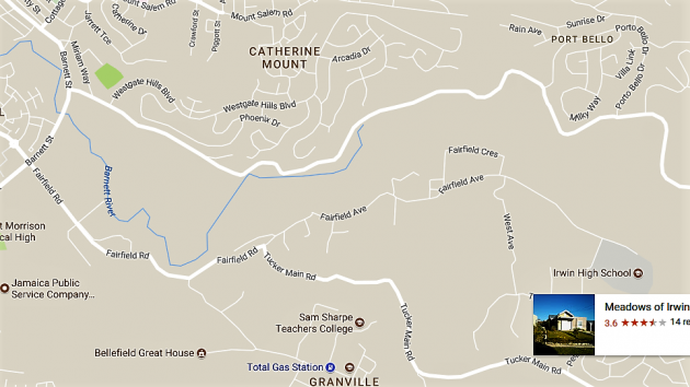 Map of Fairfield Road to Johns Hall Road in Montego Bay, St James
