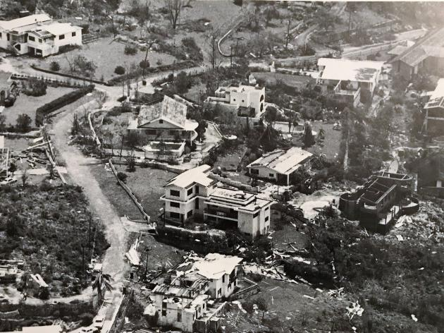 Beverley Hills after Hurricane Gilbert | Credit: Jack Tyndale Biscoe via the book Hurricane Gilbert by Hill & Ogley & Hooley