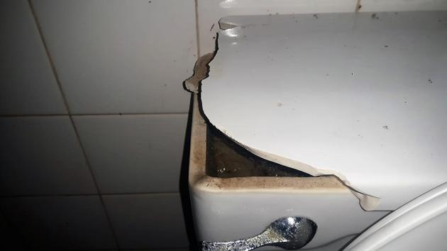 Damaged toilet | Credit: Philmore Thompson
